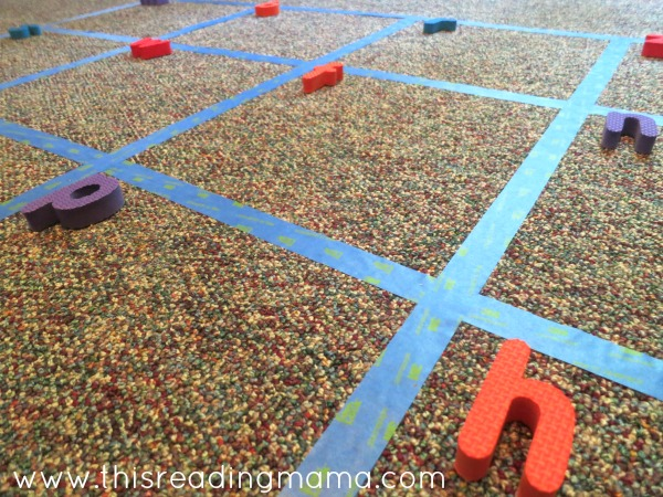 using puzzle pieces for alphabet scavenger hunt