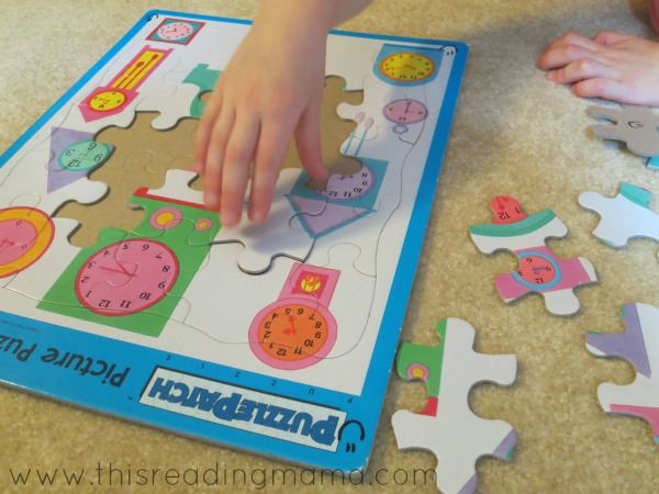 working a puzzle while listening to a read aloud