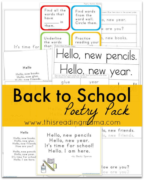 image regarding Keep a Poem in Your Pocket Printable named Again in direction of University Poetry Pack No cost printable pack