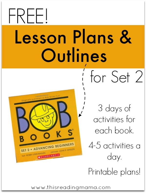 FREE Lesson Plans and Outlines - Set 2 BOB Books - This Reading Mama