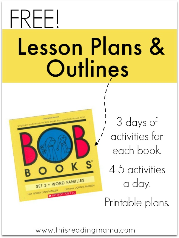 FREE Lesson Plans and Outlines for BOB Books Set 3