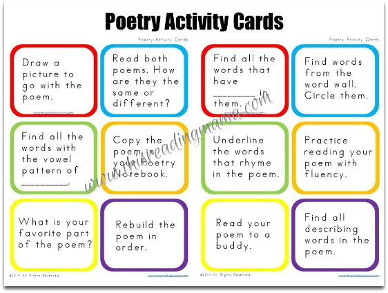 Poetry Activity Cards ~ Great for extending ANY poem!