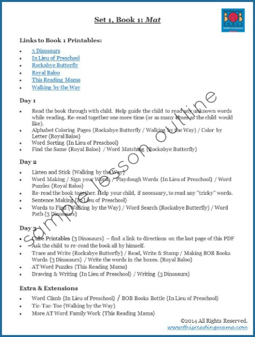Lesson Plans And Outlines For Bob Books Set 1