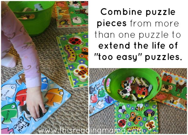 extend the life of puzzles that are too easy for toddlers