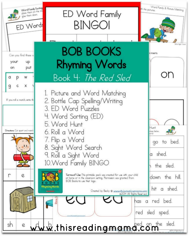 FREE BOB Books Rhyming Words Book 4 Printables