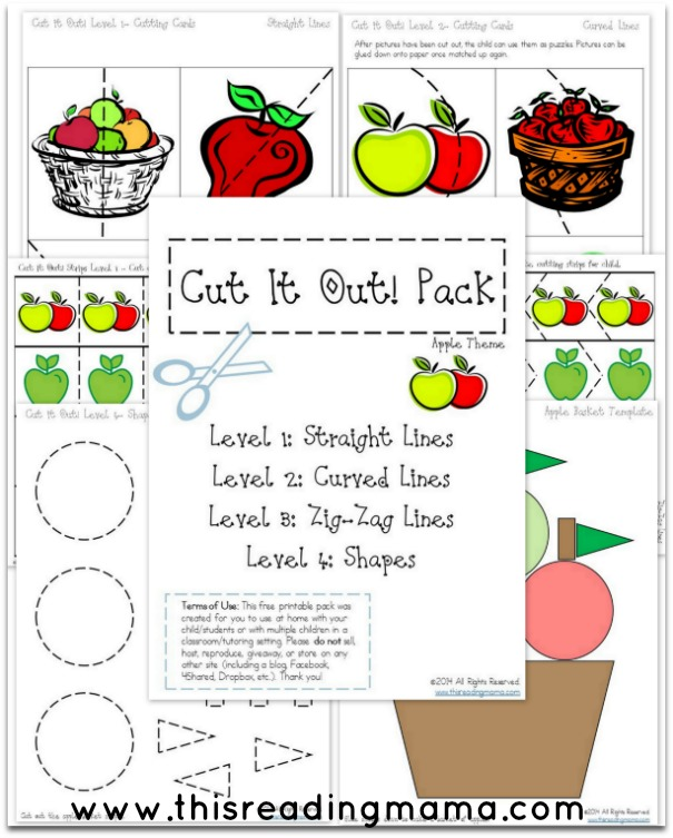 FREE Apple Cut it Out Pack from This Reading Mama