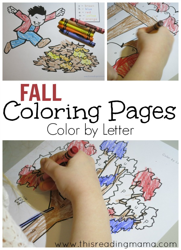 Fall Coloring Pages – Color by Letter