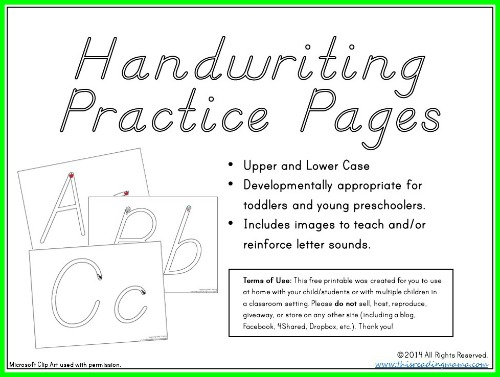 FREE D'Nealian Handwriting Pages for Tots