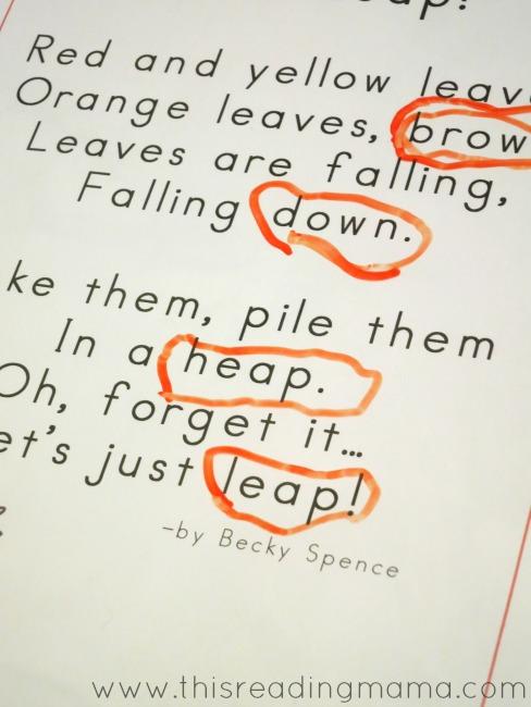 circling rhyming words in fall poetry 1-pg reader