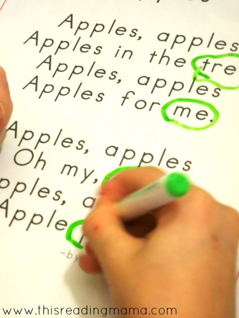 find and circle the rhyming words in the apple poem