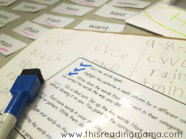 routine and activity cards for word study