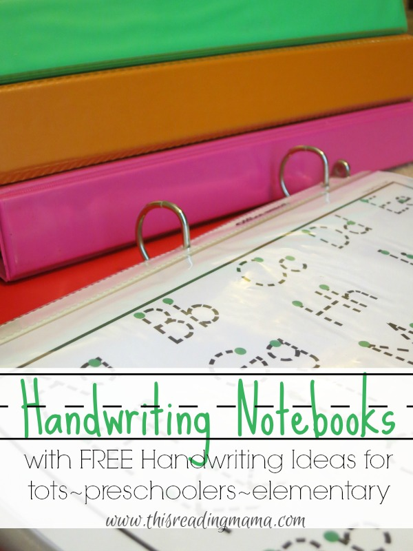 Handwriting Notebooks ~ FREE Resources for tots-preschoolers-elementary
