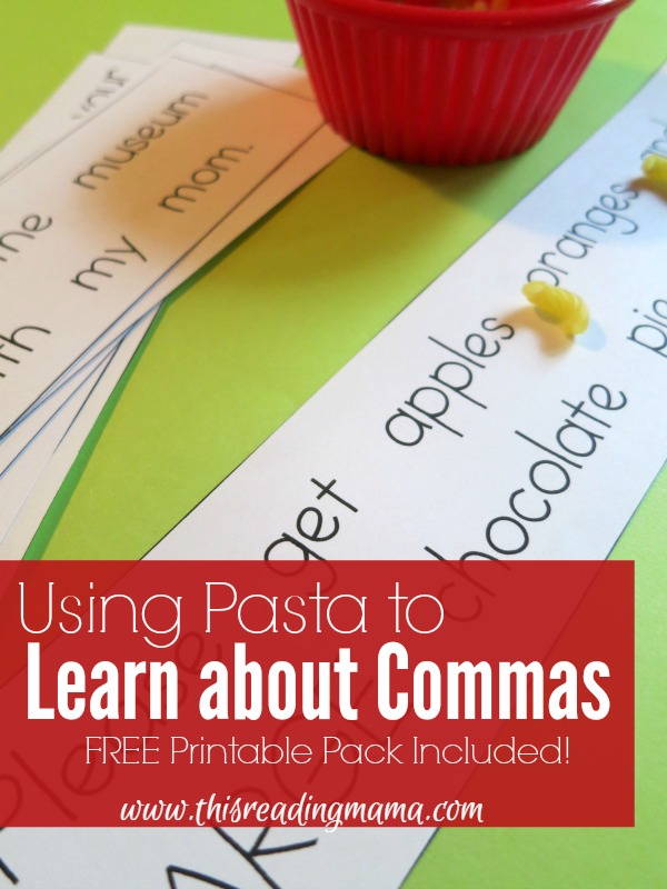 Using Pasta to Learn about Commas - This Reading Mama