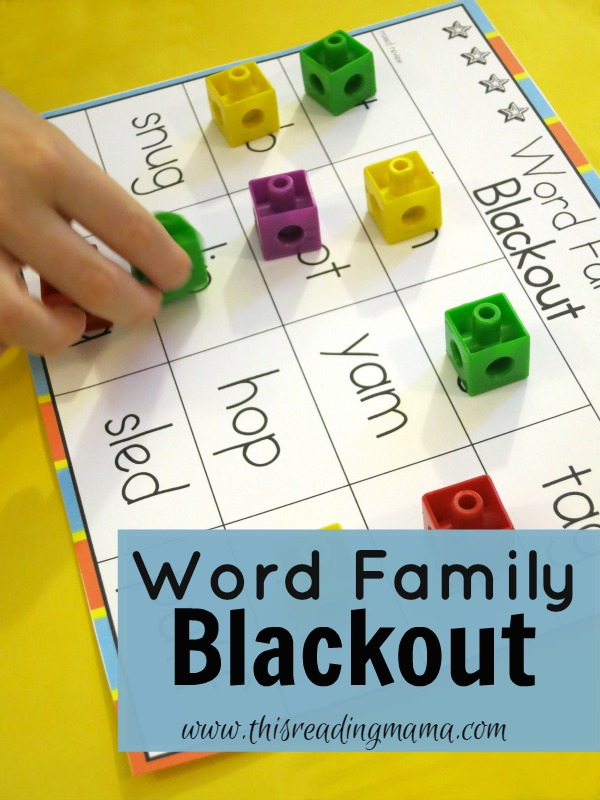 Word Family Blackout {FREE} This Reading Mama