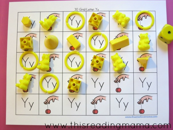 alphabet grid games y is for yellow