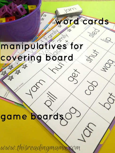 materials needed for word family blackout
