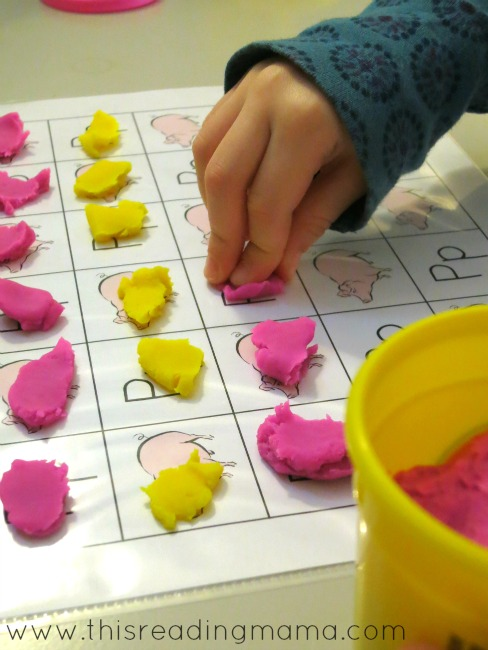 pinching playdough for grid games