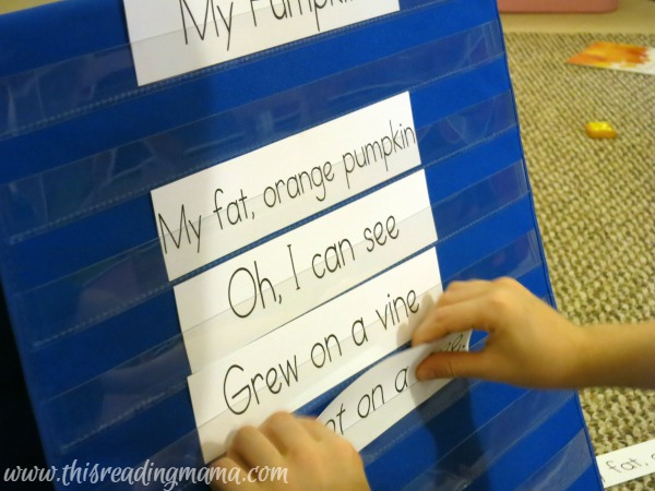 reconstructing the pumpkin poetry in pocket chart