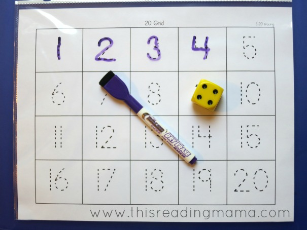 tracing numbers 1-20 grid game
