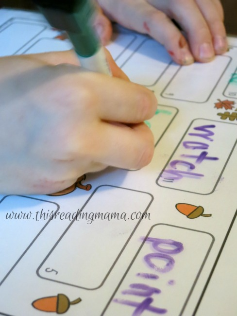 writing spelling words for Word Bump