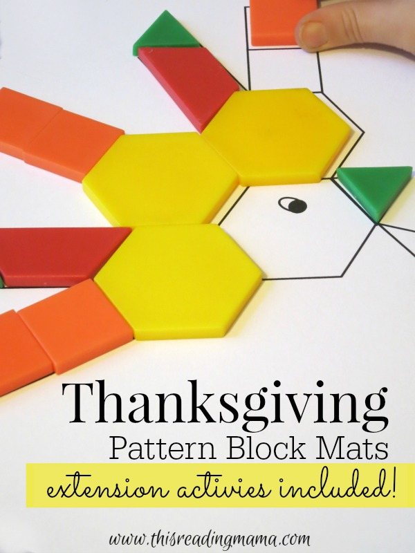 FREE Thanksgiving Pattern Block Mats {extension activities included!} - This Reading Mama