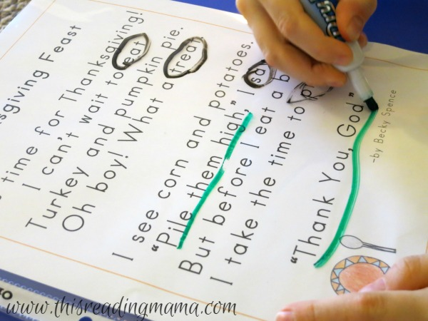 circle rhyming words and quotation marks