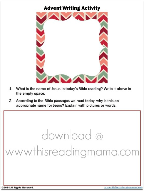 Advent Writing Activity