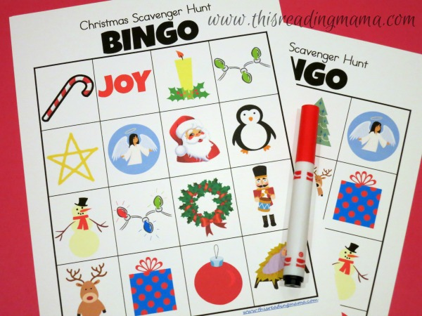 Christmas Lights Scavenger Hunt BINGO Boards