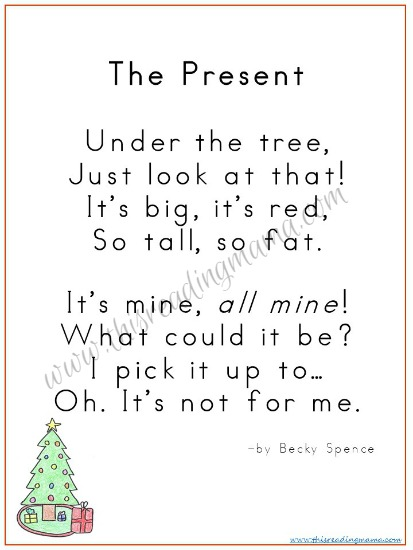 Christmas Poetry One-Page Reader by Becky Spence