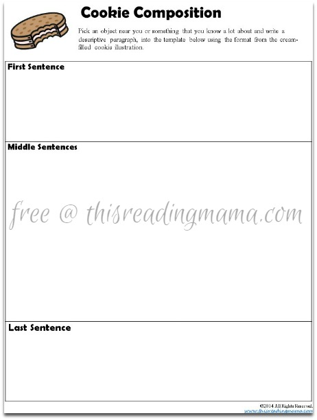 descriptive writing graphic organizer  cookie composition descriptive writing template