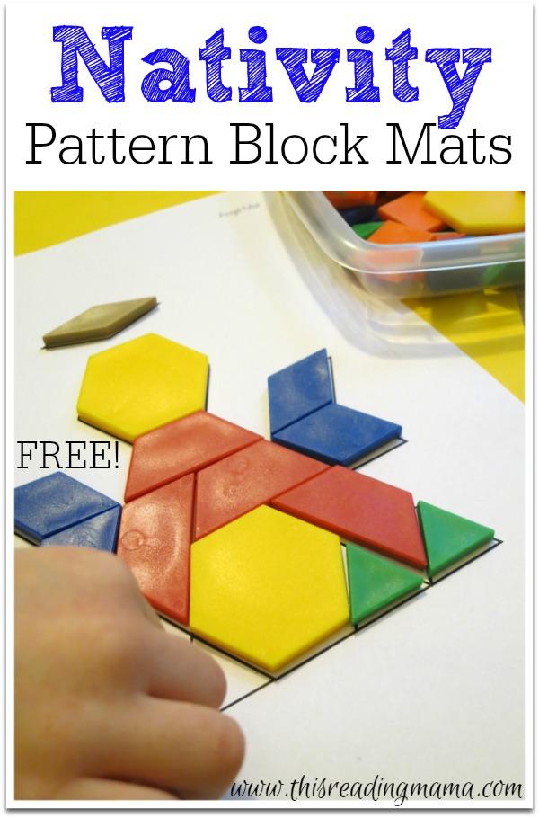 FREE Nativity Pattern Block Mats