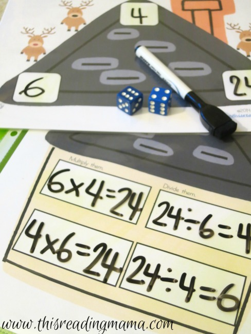Fact Family Math Game for multiplication and division