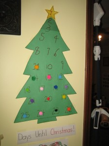 Christmas Tree Countdown Until Christmas with Pom-Poms
