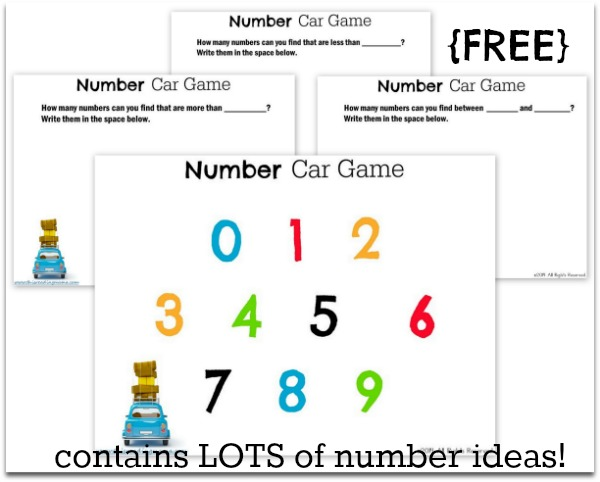 Number Car Game Printables {FREE) - This Reading Mama