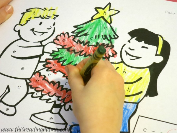 color by letter Christmas coloring pages