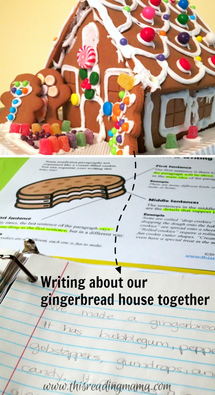 writing about our gingerbread house together