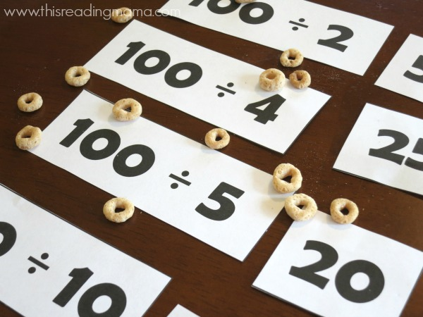 Division printables for 100 Hungry Ants