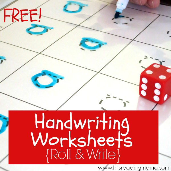 FREE Handwriting Worksheets Roll and Write – D Nealian Cursive Handwriting Worksheets