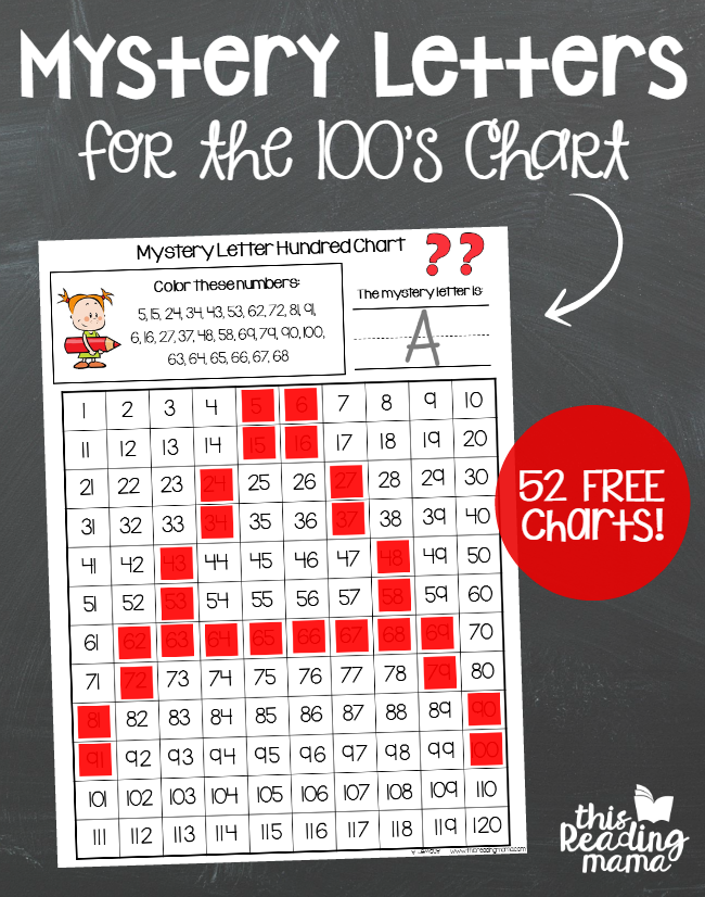 Mystery Letters for the 100s Chart - 52 FREE Charts - This Reading Mama