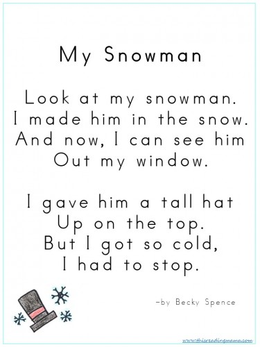 My Snowman Poem by Becky Spence