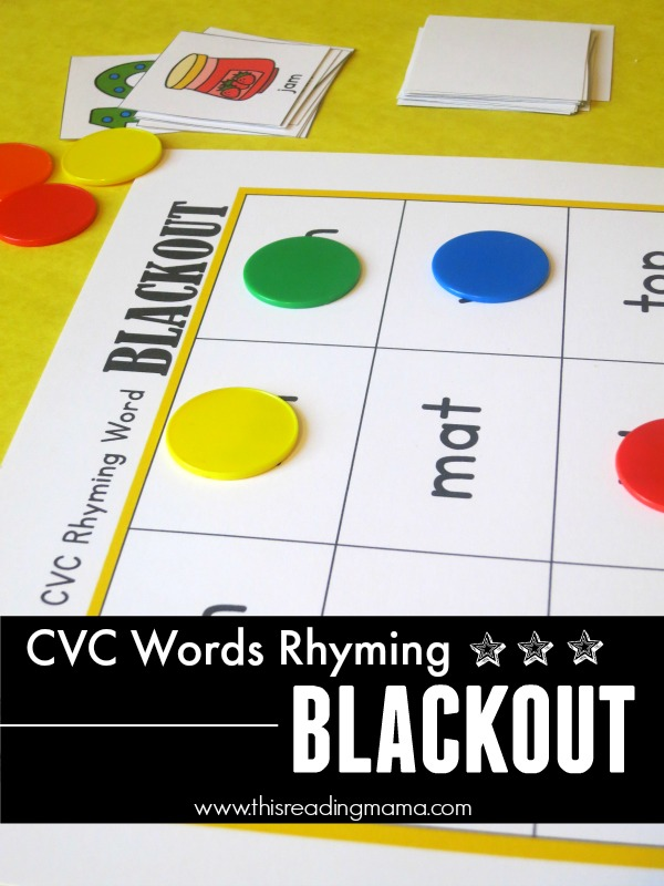 CVC Words - FREE Rhyming Blackout This Reading Mama