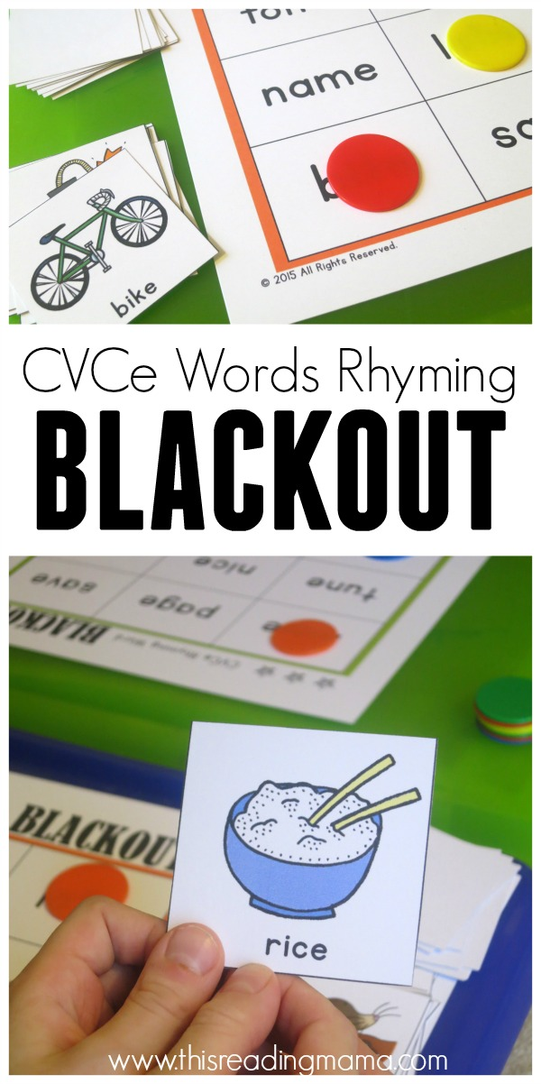 CVCe Words - FREE Rhyming Blackout - This Reading Mama