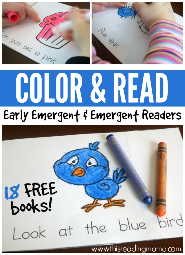 Color and Read Pack - FREE Early Emergent and Emergent Readers - This Reading Mama