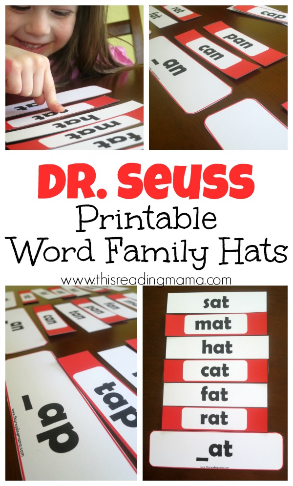 Dr. Seuss Word Family Hats (FREE Printable Pack for Short and Long Vowels) - This Reading Mama