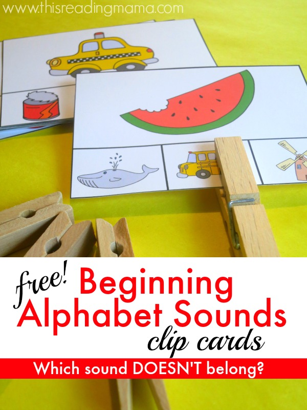 FREE Beginning Alphabet Sounds Clip Cards - This Reading Mama