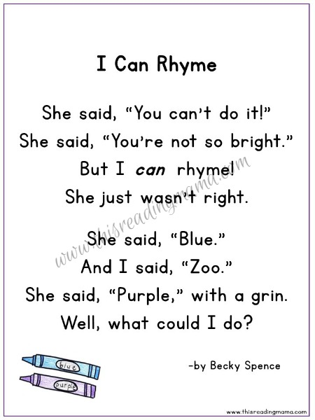 FREE I Can Rhyme Poem | by Becky Spence