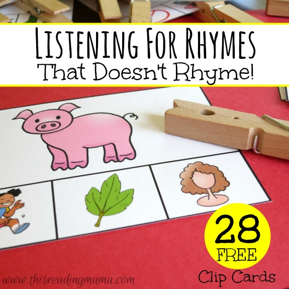 Listening for Rhymes - 28 FREE Clip Cards - This Reading Mama