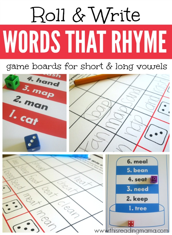 Roll and Write Words that Rhyme {FREE gameboards for Short and Long Vowels} - This Reading Mama