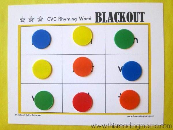 winner of CVC words rhyming blackout