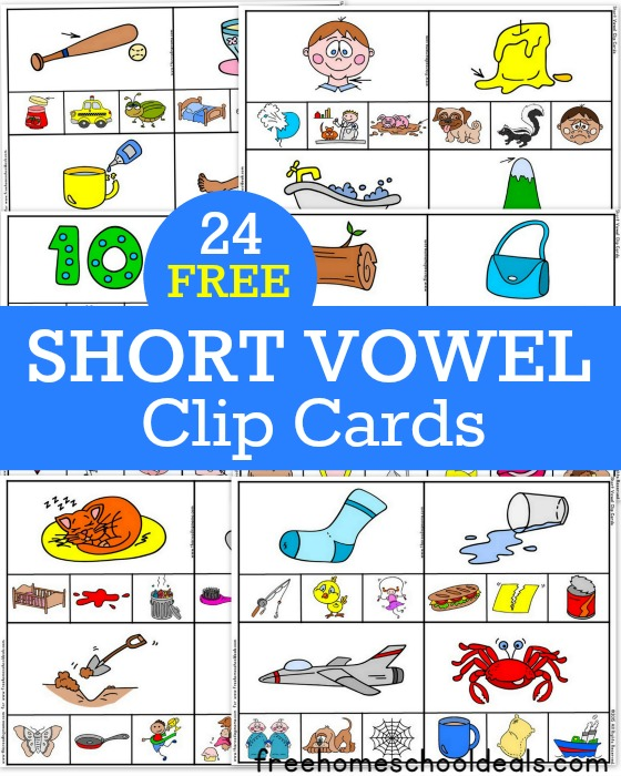 24 FREE Short Vowel Clip Cards - This Reading Mama for Free Homeschool Deals